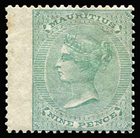 Lot 1358:1863-72 Crown CC 9d yellow-green SG #66 wing-margin example, minor edge tone at left, fine mint overall, Cat £190.