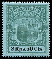 Lot 1359 [3 of 3]:1900-05 Arms High Values 1r to 5r SG #153-55, minor gum surface residue on 5r, MVLH, Cat £205. (3)