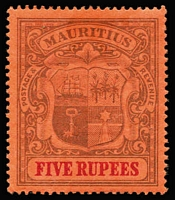 Lot 1359 [1 of 3]:1900-05 Arms High Values 1r to 5r SG #153-55, minor gum surface residue on 5r, MVLH, Cat £205. (3)