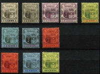 Lot 1361 [2 of 2]:1904-07 Arms MCA 1c to 1r set SG #164-75, plus 2c 4c & 6c chalky papers, hinge remnants (couple heavy), fine mint overall, Cat £190. (12)