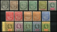 Lot 1362 [2 of 2]:1910 KEVII MCA 1c to 10r set (ex 12c) SG #181-95, including a few shades, fine mint, Cat £275. (17)