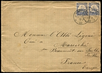 "Lot 1295 [3 of 9]:1901-32 Cover Selection with German Period 1901 Matupi to Berlin franked with overprinted 20pf Arms, Friedrichshafen covers 1912 to Hamburg & 1913 to Rabaul with 10pf Yacht solos, 20pf Yachts pair on 1903 Herbertshohe cover to France, Postal Cards 5pf 1911 use from Rabaul & 10pf 1901 use from Herbertshohe, both to Germany; NWPI 1916 missionary cover Madang to Brisbane franked with optd 1d red KGV, German 'KAISERLICHES OBERGERICHT RABAUL' cachet in violet, ""Censored"" in manuscript with 'PASSED CENSOR RABAUL' tape at top, two Brisbane censor datestamps in red & Brisbane arrival backstamp; also 1918 Rabaul registered to UK franked with optd 2½d Roo pair; few others items including New Zealand inwards QV ½d wrapper from Christchurch to missionary family in New Britain; mixed condition as to be expected. (13)"