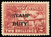 Lot 1401:Stamp Duty: 2/- lake-brown Huts optd 'STAMP/DUTY' mint (minor gum thin), Elsmore Online Cat $600.