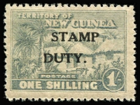 Lot 1400:Stamp Duty: 1/- blue-green Huts optd 'STAMP/DUTY' variety 'DUTY' misplaced to left - 'S' over 'U', mint, Elsmore Online Cat $160 (for normal overprint setting).
