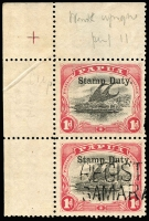 Lot 1398:Stamp Duty: Small 'PAPUA' Wmk Crown/A Upright 1d black & rose P11 SG #49 upper-left corner marginal pair [Pos 1 & 6] each unit optd 'Stamp Duty', lower unit with part two-line 'REGISTERED/SAMARAI B.N.G' handstamp (Lee Type 26, Rated 'D'), few pulled perfs, otherwise fine. Lovely item.