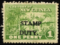 Lot 1399:Stamp Duty: 1d green Huts, optd 'STAMP/DUTY', unused.