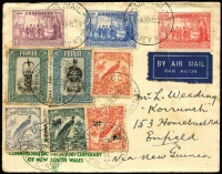 Lot 1181 [2 of 5]:1938 Australia-New Guinea-Australia flights comprising [1] to Brisbane on illustrated cover with 5d Undated Bird Air Mail plus Australian 4d Koala & 1d QM tied by Rabaul or Brisbane datestamps; [2] to NSW with Australia NSW Anniv set, Papua 3d & 5d Pictorials & New Guinea Undated Birds values x4, tied by Sydney, Port Moresby or Rabaul datestamps; [3] long cover unusually emanating in New Guinea to Sydney with New Guinea 2d Undated Birds Airs & Papua 2d Declaration tied by Wau (May 31) datestamps (Lee Type 118) with adjacent Post Office Wau (Jun 4) datestamp (Lee Type 116), some spotting. (3)