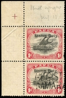 Lot 1091:Stamp Duty: Small 'PAPUA' Wmk Crown/A Upright 1d black & rose P11 SG #49 upper-left corner marginal pair [Pos 1 & 6] each unit optd 'Stamp Duty', lower unit with part two-line 'REGISTERED/SAMARAI B.N.G' handstamp (Lee Type 26, Rated 'D'), few pulled perfs, otherwise fine. Lovely item.