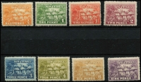 Lot 1390 [3 of 3]:1925-27 Huts ½d to £1 set SG #125-136, faint dealer handstamps most values, MUH, Cat £400. (13)