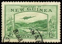 Lot 1395:1935 Bulolo Air £5 emerald-green SG #205, small surface blemish over trees at right, superb centring, Wau datestamp, Cat £450.
