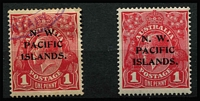 Lot 684 [2 of 2]:1915-22 KGV Varieties comprising [1] 1d red SG #67 White spot in SE corner [VIII/54] used, [2] 1d red SG #103 Notched NW corner [VI/40] mint, [3] 1d violet SG #120 Notched NW corner [VI/40] mint, fine condition, Cat $145 as unoverprinted stamps. (3)