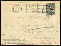 "Lot 1305:1921 (May) small cover to USA with with 2½d (b, few short perfs) tied by Madang datestamp, overstruck with San Francisco slogan datestamp, re-directed on arrival, sender's endorsement on reverse ""Byron Beach/Hookworm Campaign/Rabaul/Lt (= late) German New Guinea"". [In 1920-21 the Rockefeller Foundation funded the campaign to treat this parasitic disease which was endemic to the indigenous population]"
