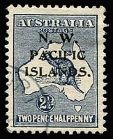 Lot 1300:1915-16 Kangaroos 1st Wmk 2½d indigo (c) SG #74, variety Heavy coastline to WA BW #9(2)d, fine used, Cat $120 as an unoverprinted stamp.