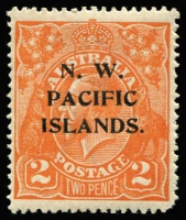 Lot 1382:1918-23 KGV New Colours 2d orange SG #121, variety Retouched 'GE' of 'POSTAGE' [6R36], rounded corner, mint, Cat $200 (as an unoverprinted stamp).