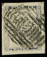 Lot 853:1850 2d Sydney Views Plate II Early Impressions 2d grey-blue SG #23, good to large margins, Sydney bars cancel, Cat £250.