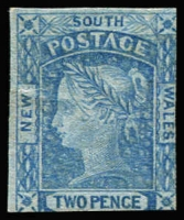 Lot 702:1851-55 Imperf 2d Laureates Plate I No Wmk Blue Wove Medium Paper Worn Impression 2d Prussian blue SG #59, couple of tiny thins & crease, cut-into at base, unused, Cat £800. Presents well.  Withdrawn, stamp has tear