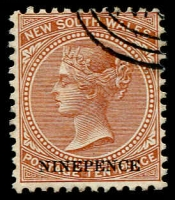 Lot 1085:1882-97 Wmk 2nd Crown/NSW 9d on 10d P12x11 SG #236d, part 'NSW' in concentric ovals cto cancel.