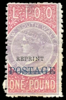 Lot 722 [2 of 2]:1885-1904 Long Types with 1885-86 optd 'POSTAGE' in black 5/- P12x10 SG #238b with neat fiscal cancels; 1894-1904 optd 'POSTAGE' in blue 10/- violet & claret P12 SG #275 mint (gum creases, Cat £325) and P11 example postally used (faded, small faults); also £1 optd 'REPRINT' in black (hinge thin). (4)