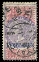Lot 825 [3 of 4]:1885-1904 Long Types with 1885-86 optd 'POSTAGE' in black 5/- P12x10 SG #238b with neat fiscal cancels; 1894-1904 optd 'POSTAGE' in blue 10/- violet & claret P12 SG #275 mint (gum creases, Cat £325) and P11 example postally used (faded, small faults); also £1 optd 'REPRINT' in black (hinge thin). (4)