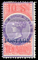 Lot 722 [1 of 2]:1885-1904 Long Types with 1885-86 optd 'POSTAGE' in black 5/- P12x10 SG #238b with neat fiscal cancels; 1894-1904 optd 'POSTAGE' in blue 10/- violet & claret P12 SG #275 mint (gum creases, Cat £325) and P11 example postally used (faded, small faults); also £1 optd 'REPRINT' in black (hinge thin). (4)