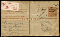Lot 946 [1 of 2]:Yanko: 29mm 'YANKO/19JL24/N.S.W' x3 fine strikes on 4½d on 5d Registration Envelope (variety Envelpe) BW #RE17d, red/white registration label, Sydney arrival datestamp.  Renamed from North Yanco PO 1/4/1892; renamed Yanco PO c.1928.