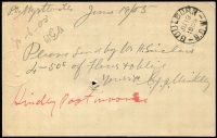 Lot 1106 [2 of 2]:154: (B1) complete Type B strike on 1905 1d Postal Card to Goulburn, adjacent largely complete strike of Myrtleville datestamp, arrival datestamp on reverse.  Allocated to Myrtleville-PO 1/5/1861; closed 30/11/1979.