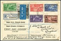 Lot 483 [2 of 4]:1930s-50s Array with FDCs including 1936 Commerce registered, 1937 Health (addressed to Tanganyika), 1950 Canterbury Centennial, 1938 EAS Flight cover addressed to Kenya with KGVI 1½d, range of mostly health issues in multiples, etc; some covers with tone-spotting, stamps are fine.