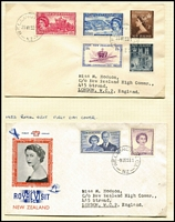 Lot 483 [3 of 4]:1930s-50s Array with FDCs including 1936 Commerce registered, 1937 Health (addressed to Tanganyika), 1950 Canterbury Centennial, 1938 EAS Flight cover addressed to Kenya with KGVI 1½d, range of mostly health issues in multiples, etc; some covers with tone-spotting, stamps are fine.