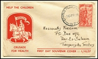 Lot 483 [1 of 4]:1930s-50s Array with FDCs including 1936 Commerce registered, 1937 Health (addressed to Tanganyika), 1950 Canterbury Centennial, 1938 EAS Flight cover addressed to Kenya with KGVI 1½d, range of mostly health issues in multiples, etc; some covers with tone-spotting, stamps are fine.
