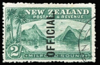 Lot 1624:1907-11 Officials: 2/- Mitre Sound, optd 'OFFICIAL.' SG #O66, very fine used, Cat £140.