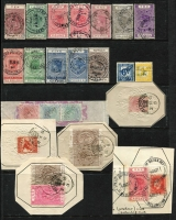 Lot 1629 [2 of 3]:Stamp Duty: Selection on Hagners with 1882-1930 Long Types to £10, £15 & £20 with good variety of shiiling values including 7/6d; also a few items on document fragments; condition variable. (60+ items)