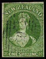 Lot 1366:1857-63 Chalons No Wmk 1/- blue-green on soft paper SG #17, complete margins (minute nick in upper-right margin) with fragment of adjoing stamp at left, fine used with tidy Bars '15' cancel. Lovely stamp, Cat £1,800.