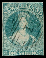 Lot 1551:1857-63 Chalons No Wmk 1/- blue-green SG #17, thinned patch centre-left, slightly cut-into at base, tidy Bars '1' cancel, Cat £1,800.