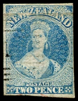 Lot 2190:1857-63 Chalons No Wmk 2d deep dull blue SG #10 flattened crease at top, some evidence of cleaning, lightly cancelled, Cat £180.
