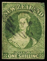 Lot 1601:1862-64 Chalons Wmk Large Star 1/- green SG #44, minor corner blemish top right, margins almost complete, Cat £325.