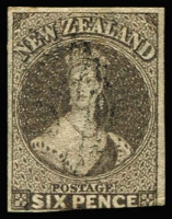 Lot 1600:1862-64 Chalons Wmk Large Star 6d black-brown SG #41, cut-into at base otherwise good balanced margins, lightly cancelled, Cat £130.