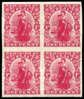 Lot 1610:1908-27 1d deep carmine Dominion marginal Imperforate block of 4 on Cowan thick opaque chalk-surfaced paper with toned gum SG #410a, fresh MUH, Cat £280+.