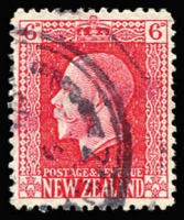 Lot 1775:1915-30 KGV Heads 6d carmine Line Perf 14 provisional use on paper intended for 1902-06 2½d Pictorial issue, utilised for KGV issue due to a wartime paper shortage, CP #K8d, used, Cat NZ$375. Scarce.