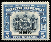 Lot 1636 [1 of 3]:1945 Optd BMA 1c to $5 set SG #320-324, few low values & 20c with gumside toning, generally fine MLH, Cat £250. (15)