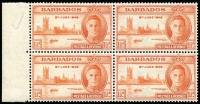 Lot 99 [1 of 3]:1946 Victory varieties selection including Barbabos 1½d Two flags on tug SG #262a in marginal block of 4, New Zealand 3d Complete rudder SG #671a in marginal block of 4, Swaziland 1d Barbed flaw SG #39a in marginal block, plus six other flaws unlisted in Gibbons, fine mint or MUH. (9 items)