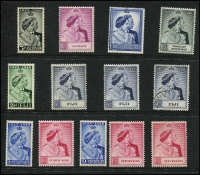 Lot 100 [1 of 2]:1948 Silver Wedding mostly mint with Ascension set, Fiji set plus extra 5/- mint & used, GB £1, Somaliland 5r, St Kitts Nevis set, Seychelles set plus extra 5r; also Basutoland 10/- (toning) on 1948 printed cover to Buckingham Palace, fine mint or MUH. (13 + cover)