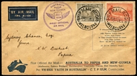 Lot 1514 [3 of 4]:1934 comprising [1] 1934 Aust-Papua with 3d Bicolour Airplane opt, 2d Pictorial & New Guinea 3d & 6d Undated Bird Airs tied by Port Moresby/Lae datestamps, flight cachet in violet, Brisbane backstamp; [2] 1934 Aust-Papua with Australia 6d Air & 2d Vic Centenary tied by Melbourne datestamps, addressed to Ioma, unusually with no Papua or New Guinea stamps, cachet in violet, Port Moresby backstamp, faults on reverse. (2)