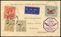 Lot 1514 [1 of 4]:1934 comprising [1] 1934 Aust-Papua with 3d Bicolour Airplane opt, 2d Pictorial & New Guinea 3d & 6d Undated Bird Airs tied by Port Moresby/Lae datestamps, flight cachet in violet, Brisbane backstamp; [2] 1934 Aust-Papua with Australia 6d Air & 2d Vic Centenary tied by Melbourne datestamps, addressed to Ioma, unusually with no Papua or New Guinea stamps, cachet in violet, Port Moresby backstamp, faults on reverse. (2)