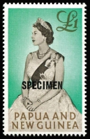 Lot 1425 [3 of 5]:1952-1965 'SPECIMEN' Overprints comprising 1952 10/- Map & £1 Fisherman, 1963 10/- Map & £1 Queen & 1964-65 10/- Bird, fresh MUH, Cat £265. (5)
