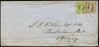Lot 1019:1866 (Apr 4) triple-weight intercolonial cover to Sydney with 1862-67 Thick toned paper 6d & 1/- Chalons tied by Rays '81' cancels, routed Warwick to Brisbane by coach and Brisbane to Sydney by ASN Co steamer, on reverse Warwick Type 1a (Rated 5R), Brisbane & Ship-Letter Sydney datestamps. Desirable cover.