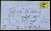 Lot 1020 [1 of 2]:1868 (Jul 20) cover from Clermont to Sydney with 6d Chalon SG #47, tied by fine Rays '29' cancel, paying ½oz inter-colonial rate, Clermont, Rockampton, Brisbane & Sydney backstamps.