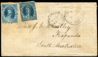 Lot 1021 [1 of 2]:1874 (May 21) cover to Kapunda with 2d Chalons x2 paying reduced rate of 2d per ½oz x2, stamps tied by Rays '96' with adjacent Maryborough and Adelaide datestamps, routed to Adelaide by sea and thence by rail to Kapunda, some mild aging. [On January 1st 1874 the Intercolonial rate was dropped to 2d per ½oz, only four covers from Queensland to South Australia are recorded at the reduced rate.] See also Lot 1022.