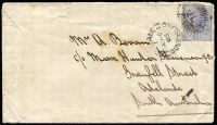 Lot 1022 [1 of 2]:1885 (Aug 10) cover from Brisbane to Adelaide with 2d Sideface tied by Rays 'QL' cancel with Brisbane datestamp alonside, Adelaide arrival backstamp, opening faults on upper edge. [This and lot Lot 1021, are two of only four covers recorded to SA at the 2d reduced rate]