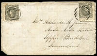 Lot 1023:1864 (Aug 22) inwards cover from Stawell to Nulla Nulla Station, Upper Burdekin with Vic 6d Adapted Design x2 tied by weak BN '152' cancels, on reverse weak Stawell, Melbourne (in red), 'SHIP-LETTER/SP9/1864/QUEENSLAND' (ERD) & Port Denison (Rated 4R, year-line over day/month-line) datestamps.