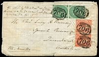 Lot 1024 [1 of 2]:1864 (Aug 24) Rumsey cover from Shipston-on-Stour, England to Ipswich Parsonage sent at penalty rate of 1/4d (x2) via Marseilles, with GB Small Uncoloured Corner Letters 1/- & 4d 'Hairlines' pairs tied by fine strikes of BN '706' cancel, Shipston, London, Brisbane & Ipswich backstamps. Possible unique example of penalty rate cover to Queensland. [In 1864 Southampton & Marseilles rates were briefly increased from 10d to 1/4d per ½oz, however this was quickly rescinded after strong protests from the Australian Colonies]